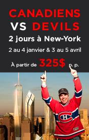 Forfait Hockey Habs DEvils 2 au 4 janvier